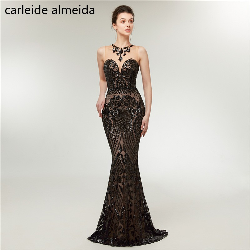 Black Lace Mermaid Evening Dress Floor Length Elegant Robe De Soiree