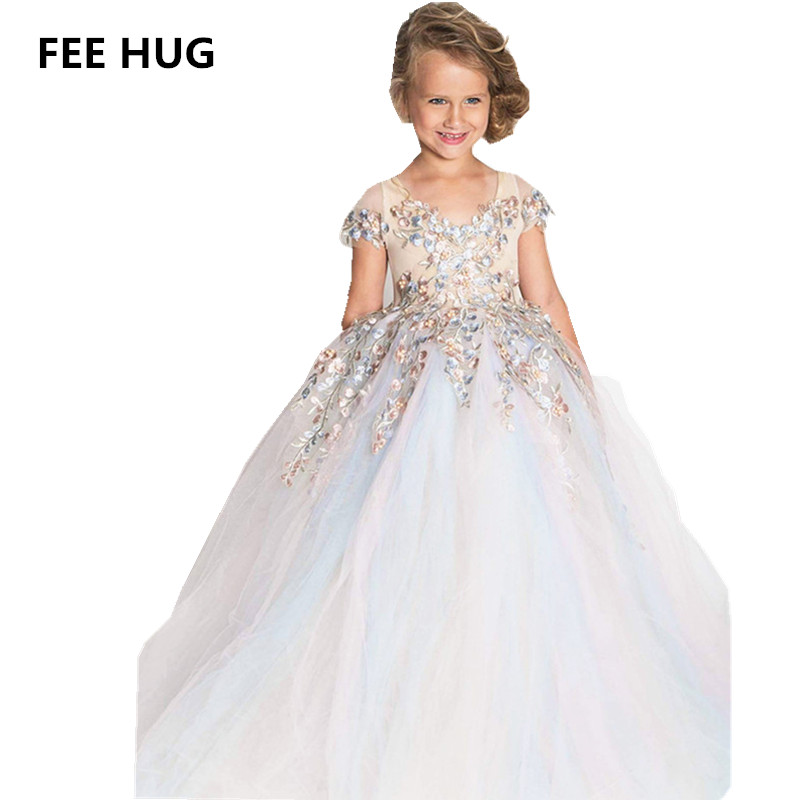 FEE HUG 2018 Girls Wedding Dress New Fashion Emboridary Short Sleeve Dress Knee Length Lace tutu Party Dresses Children CLothes korean children dress girls summer 2015 new short sleeved knee length kids clothes princess pure grey ruched dresses page 2
