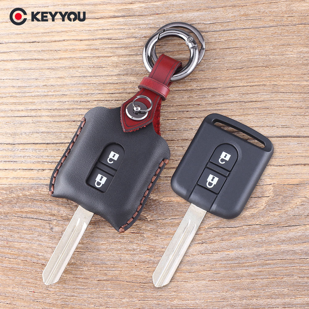 KEYYOU Remote Leather Car Key Shell Case Fob Keyless Entry 2 Button For Qashqai For Nissan Micra Navara Almera Cover keyyou brand new keyless entry remote car key fob 2 button for honda civic crv jazz hrv no chip free shipping