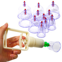 New Chinese Medical 12 Cups Vacuum Body Cupping Set Portable Massage Therapy Kit Free Shipping M01017