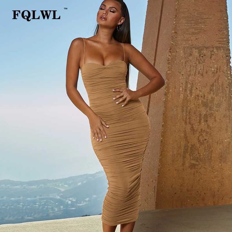 FQLWL Strapless Pleated Long <font><b>Bodycon</b></font> <font><b>Dress</b></font> Women <font><b>2019</b></font> Backless Bandage <font><b>Black</b></font> <font><b>Sexy</b></font> <font><b>Summer</b></font> <font><b>Dress</b></font> Ladies Club Party Maxi <font><b>Dresses</b></font> image