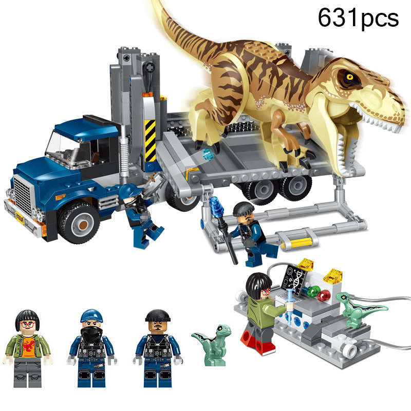 631pcs Jurassic World Park Indominus Rex Dinosaur Figures Transport Truck Building Blocks Compatible Legoings Bricks Toy For Kid