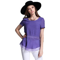 Fashion 2017 Women Blouses Short Sleeve Chiffon Blouse Purple Shirt Women Summer Tops Clothes Plus Size