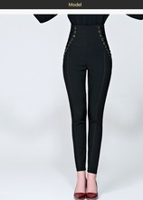 SPP111 WOMEN Casual pants/high waist pants/Fashion trouses/Elastic bandage waist pants/black color 3 size