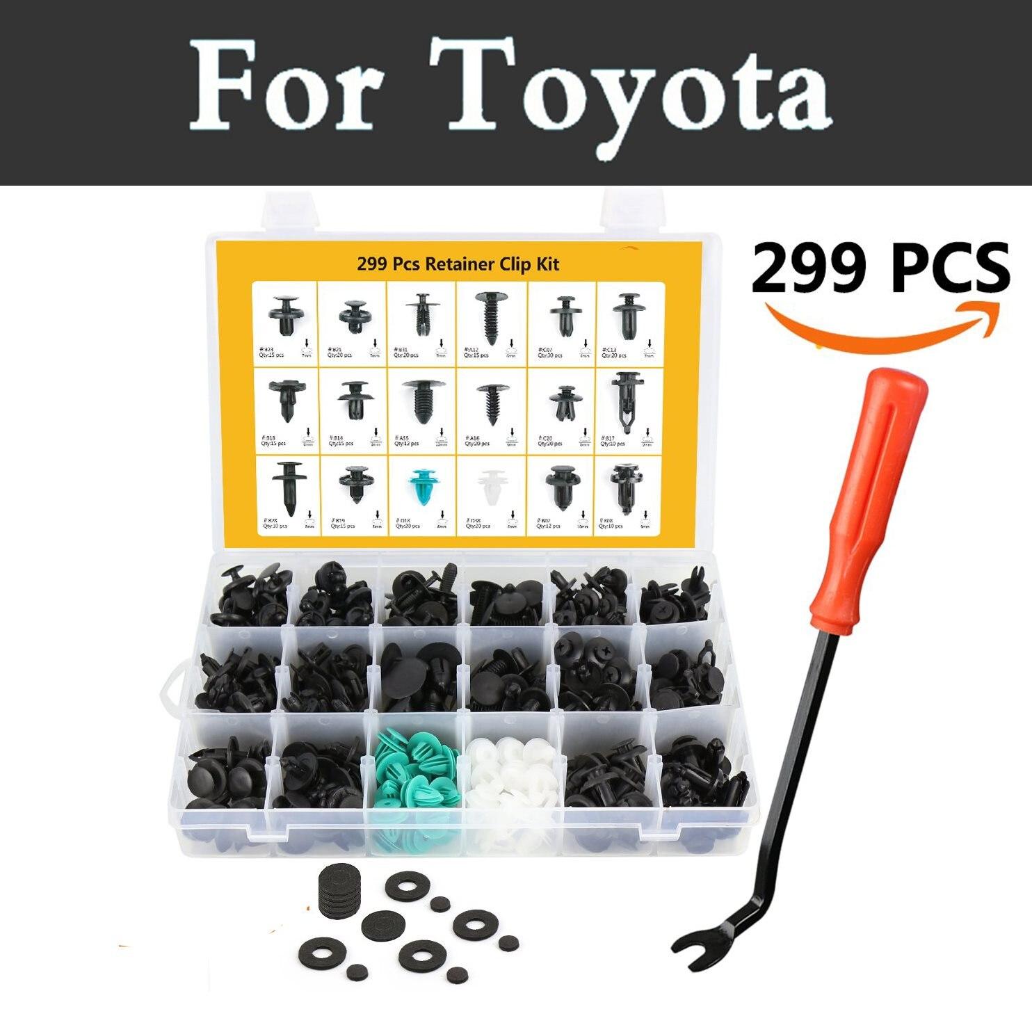299pcs Car Plastic Fasteners Rivets Push Pin Fasteners Tool Rivets For Toyota Hilux Surf Iq Ist Kluger Land Cruiser Prado