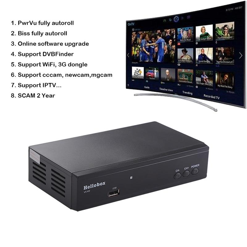 US $29 89 39% OFF Hello box V5 Satellite Receiver DVBS2 IPTV Online  Software Upgrade Support CCCAM Newcam Mgcam SCAM 2 Year TV BOX-in Satellite  TV