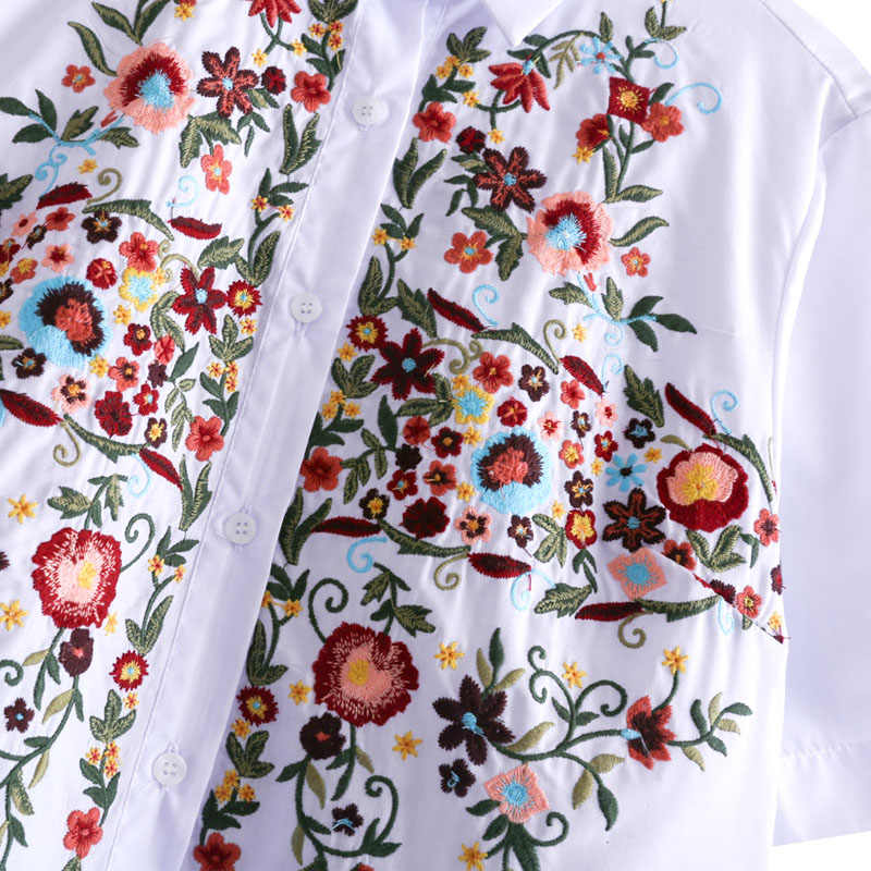 Женская милая Цветочная вышивка рубашки хлопок Белый Винтаж Тотем Ретро короткий рукав Повседневная блузка женские летние топы Блузы DT841
