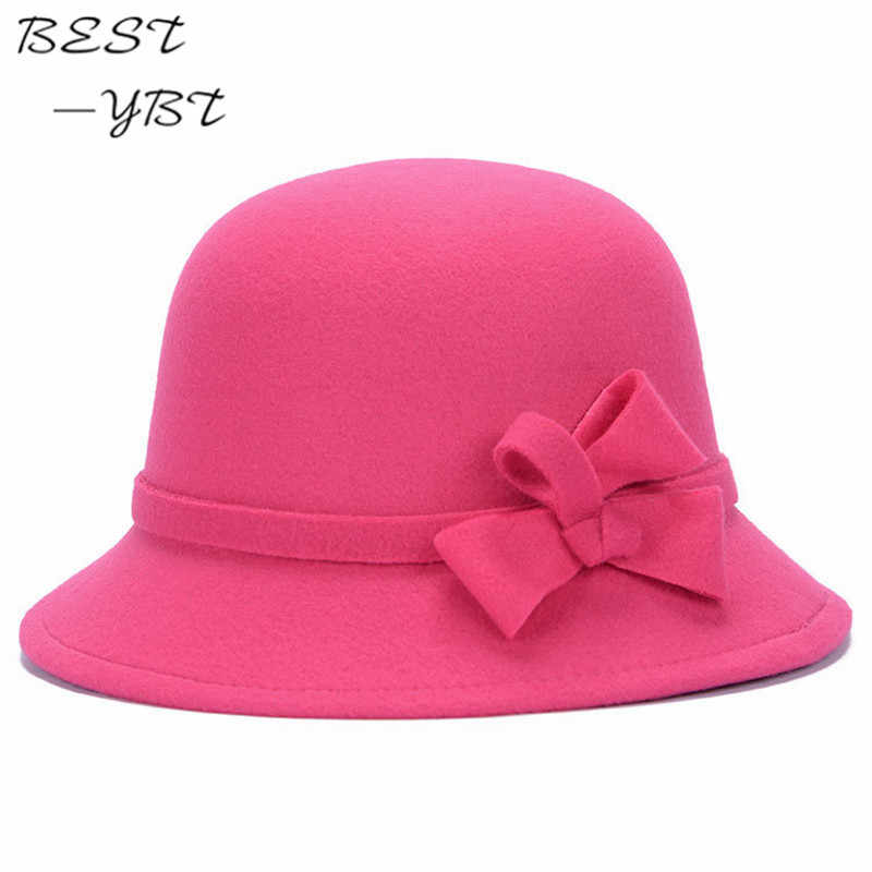 de4f9c75c4630 ... Vogue Ladies Women Girls Flowers Hats Trendy Derby Wool Bowler Fall  Winter Warm Lovers Fedoras Princess ...