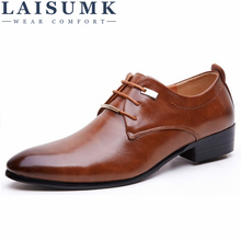 2018 LAISUMK New Men Flats Leather Shoes Pointed Oxford Flat Male Shoes Mens Luxury Brand With Box Size 38-46
