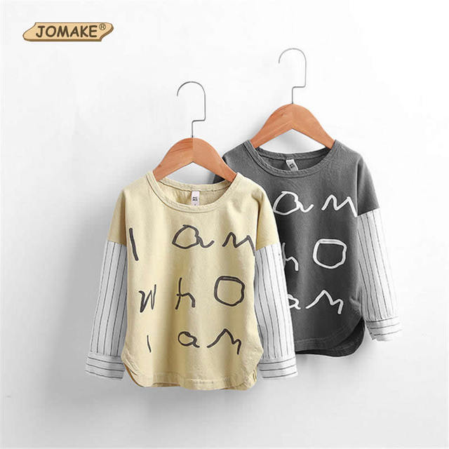 Children T-Shirts Spring New Kids Costumes Letter Boys/Girls Patchwork Striped Sleeve T-Shirts  Brief Style Toddlers Clothing