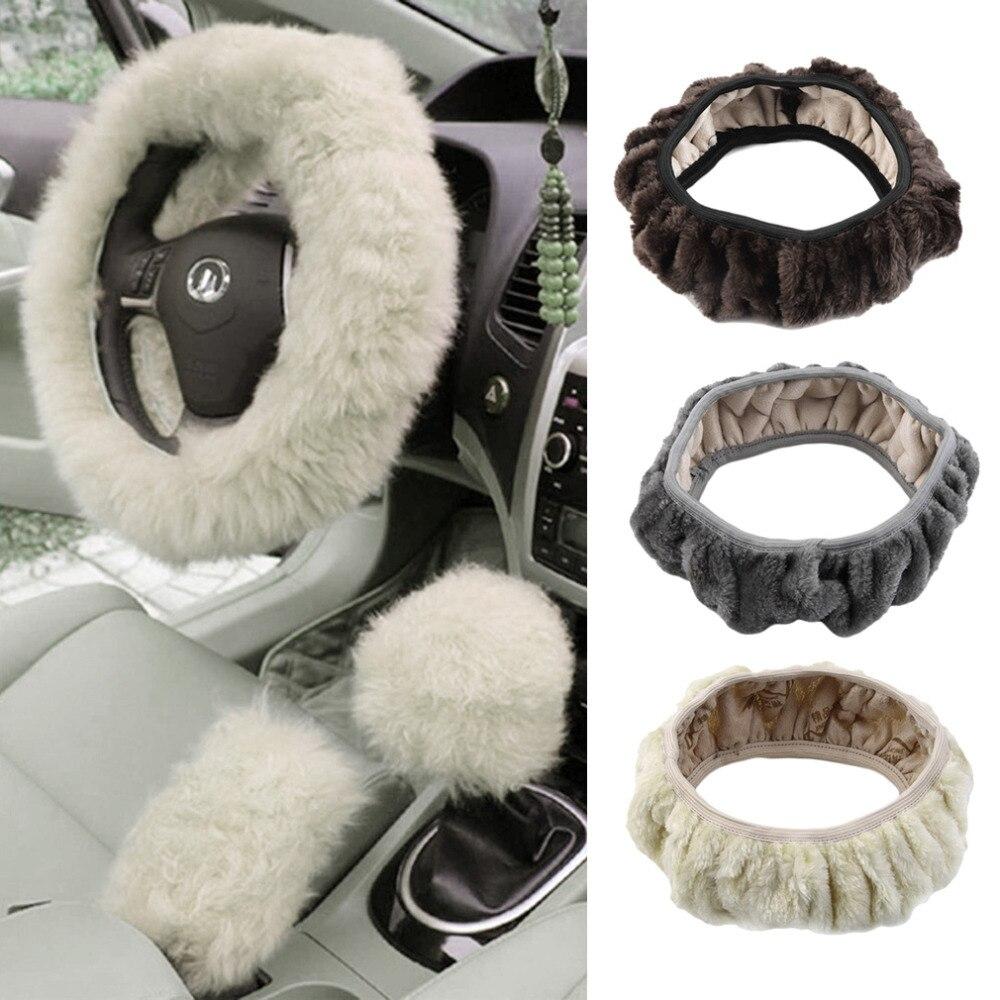 1pc Charm Warm Short Wool Plush car Steering Wheel Cover woolen Car Handbrake font b Accessory