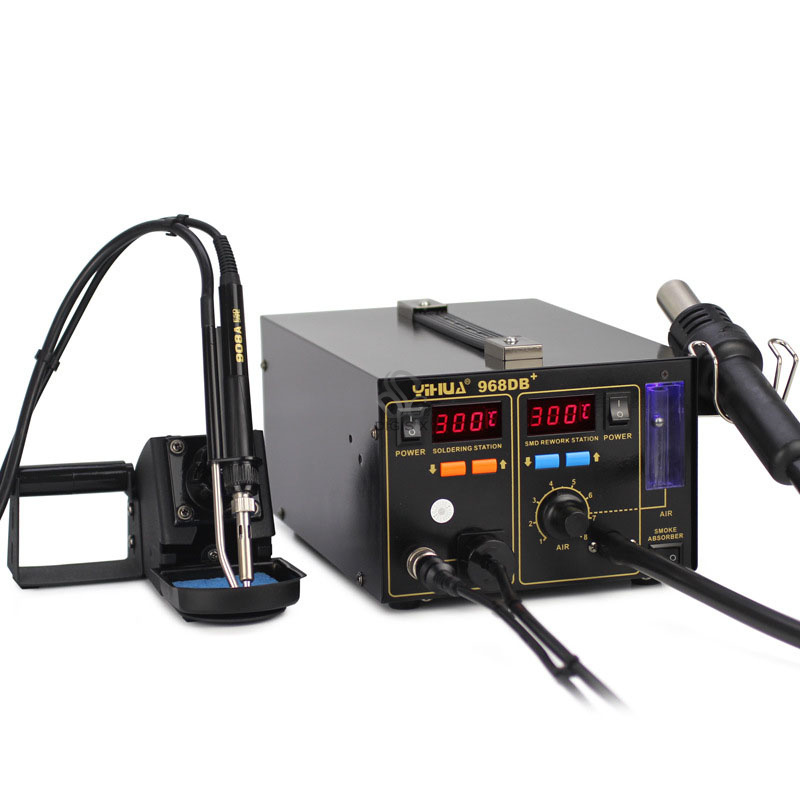 3 in 1 SMD Rework Station 968DB+ Soldering Station With Smoke Absorber3 in 1 SMD Rework Station 968DB+ Soldering Station With Smoke Absorber