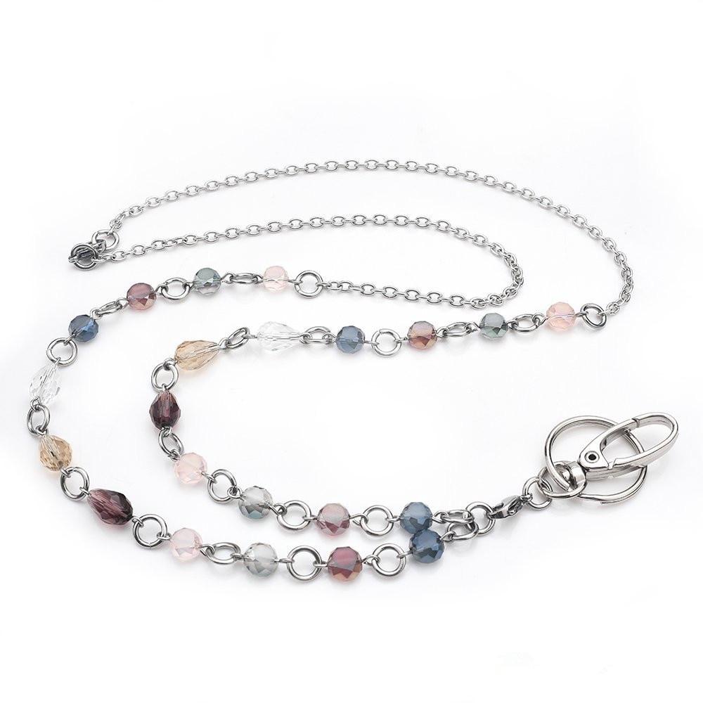 New Fashion Lanyard Necklace Crystal Beads ID Badge