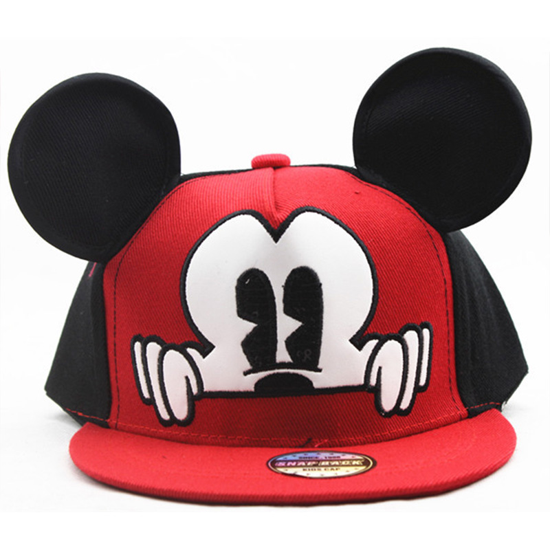 Cute Style Children   Baseball     Caps   Mouse Mickey Kids Hat With Ear Outdoor Sunscreen Adjustable Ear   Baseball     Cap   For Baby Boy Girl