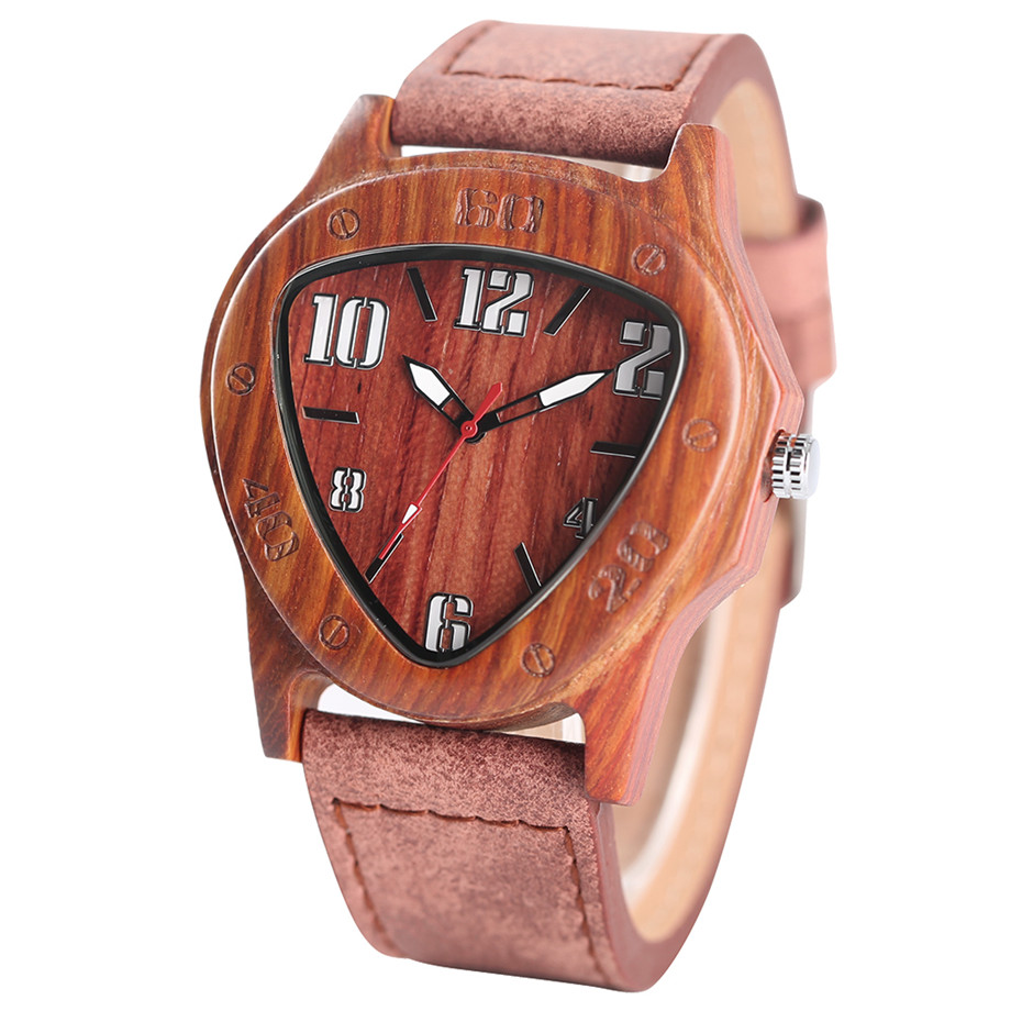 genuine leather band pink buckle quartz red sandalwood watches02
