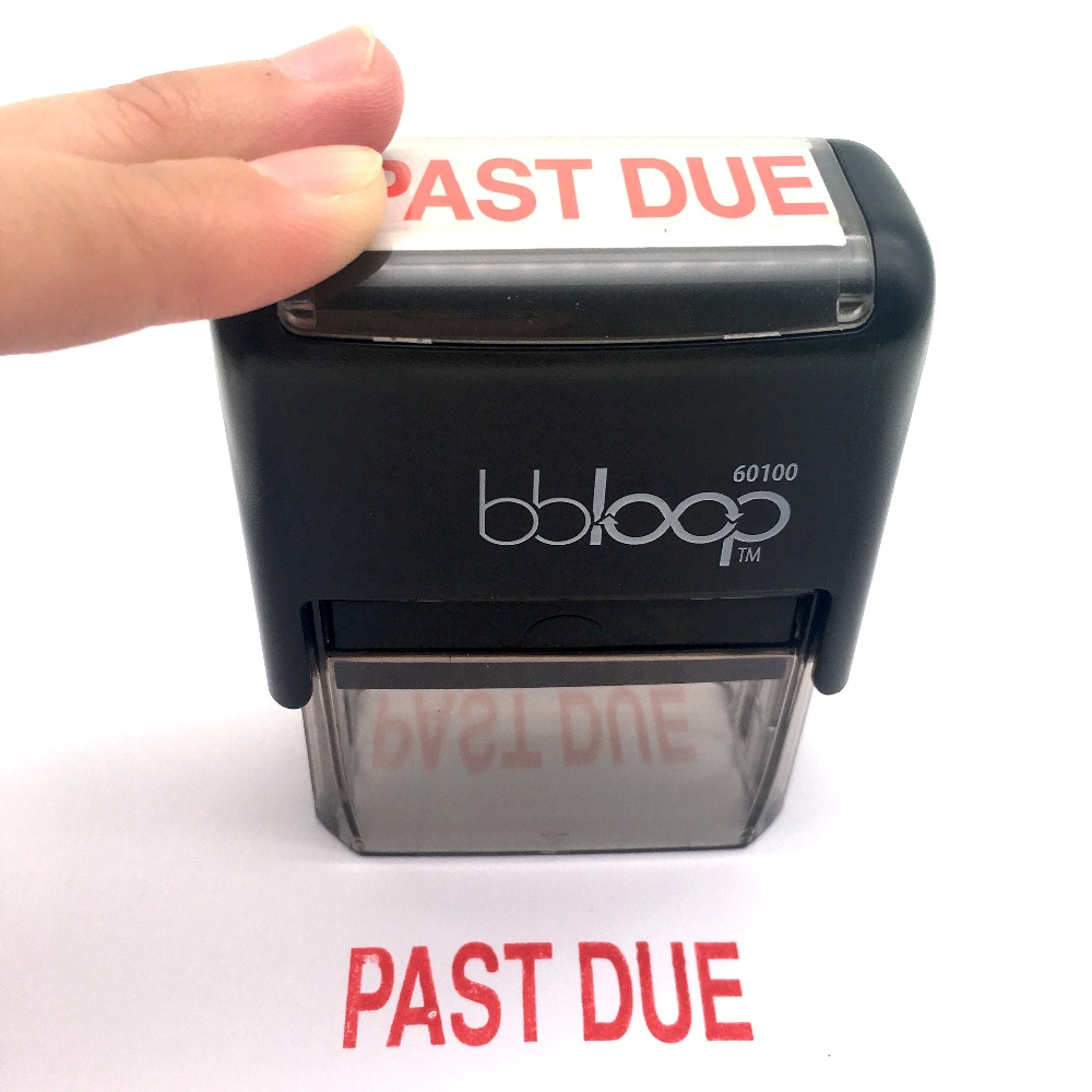 BBloop PAST DUE Self-Inking Stamp, Rectangular. Laser Engraved. RED tentazione due a3252 nero