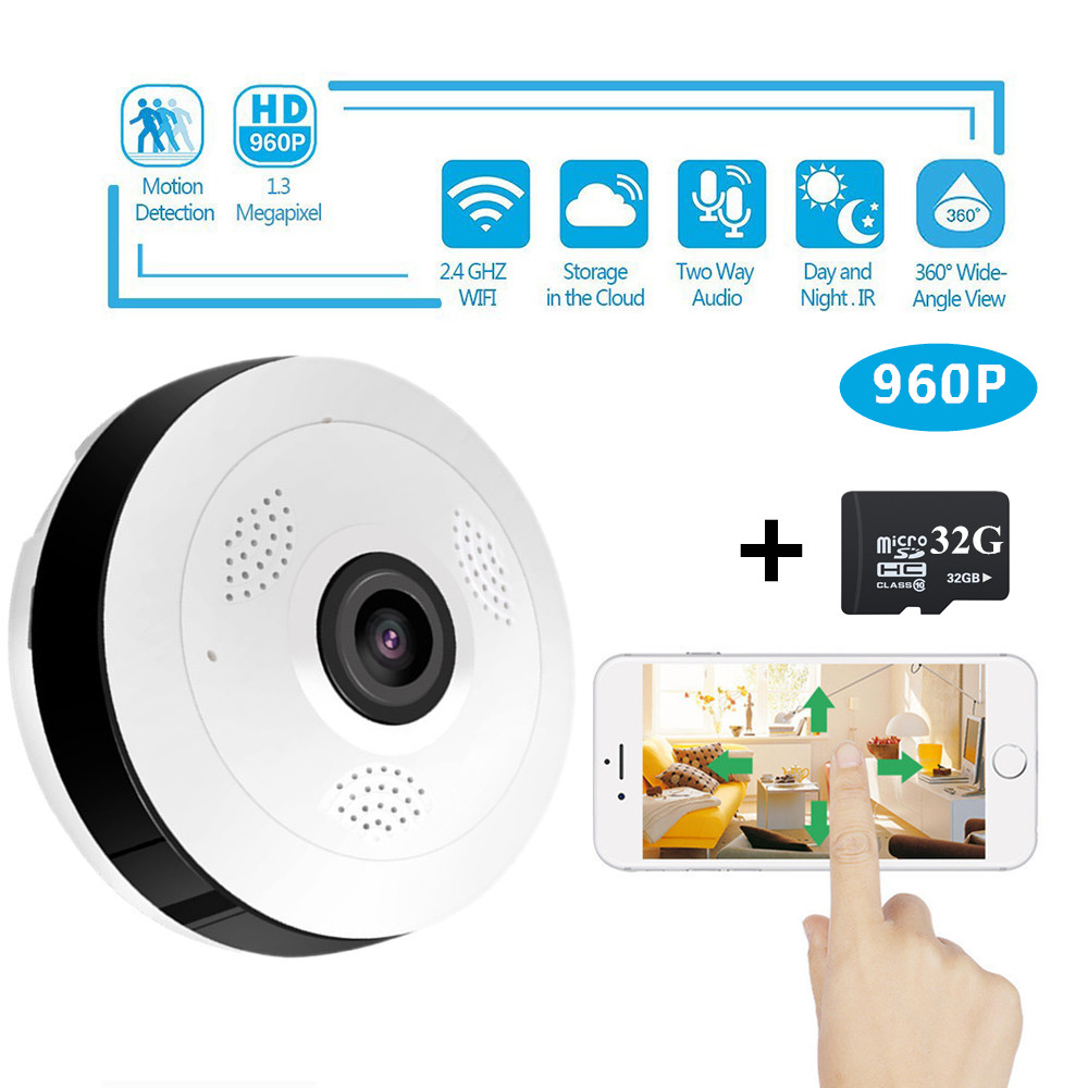 SHRXY 360 Degree Panoramic Wide Angle MINI Cctv Camera 960P HD Wireless Smart IP Camera Fisheye Home Security V380 Wifi Camera