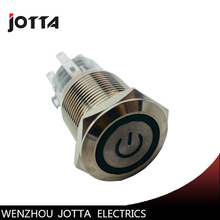 19mm 1NO momentary metal push button switch with flat round