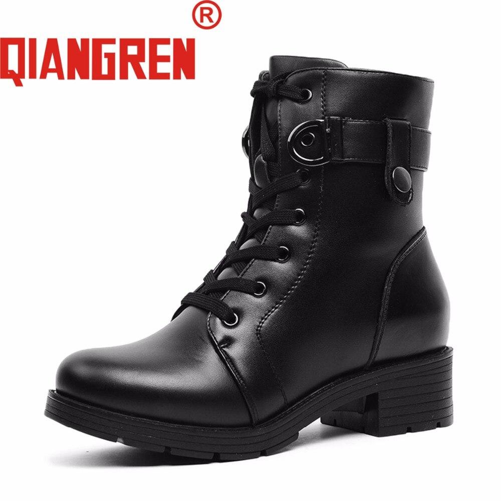 Invierno Botas Fábrica Negro Auténtico Llega Señoras Nieve Libre Lana Cuero Qiangren Directo Militar De Aire Nuevo Señora Al nPfHXvY
