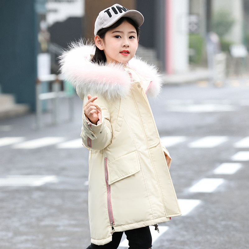 Girl Winter Coat Parka Long Down Puffer Hooded Fur Collar Children Winter Jacket Kids Thick Warm Clothes Teenage Girls Clothing