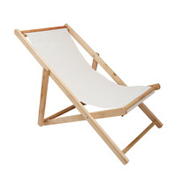 Outdoor Sun Beach Chair Folding Solid Wood Oxford Canvas Portable Lunch Wooden Chair