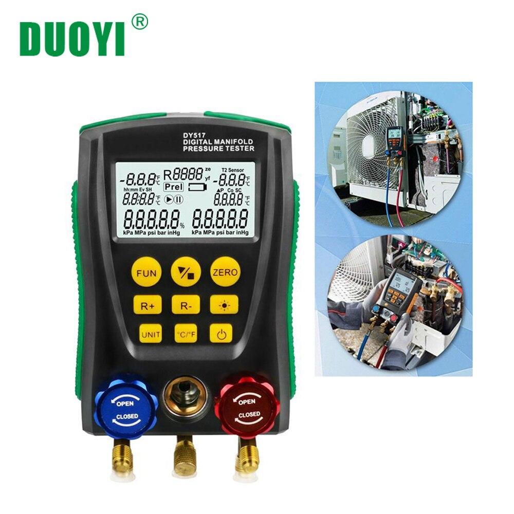 DUOYI DY517 Pressão Colector De Refrigeração HVAC Pressão Medidor De Temperatura Tester Teste De Refrigerante Flúor Digitais Testo PK