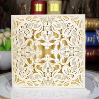 30pcs Pack Laser Cut Elegant Flowers Invitations Cards With Envelope Married Birthday Party Invitation Card Casamento