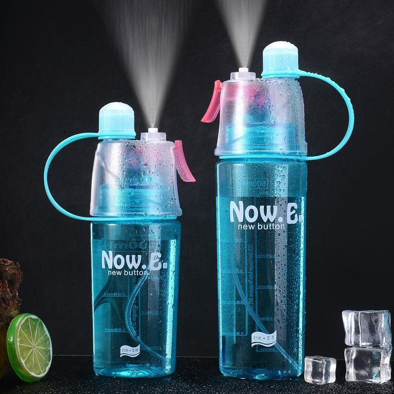 HTB17tqHXrr1gK0jSZFDq6z9yVXae New 400/600Ml 3 Color Solid Plastic Spray Cool Summer Sport Water Bottle Portable Climbing Outdoor Bike Shaker My Water Bottles