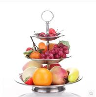 Creative fashion stainless steel material multi function three layers fruit snacks dish candy plate free shipping