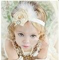 Bebê Menina Crianças Flor Pena Supremo Cabeça Bebe Infantil Headbands Meninas da Faixa Do Cabelo Crianças Acessórios Headwear Foto Props