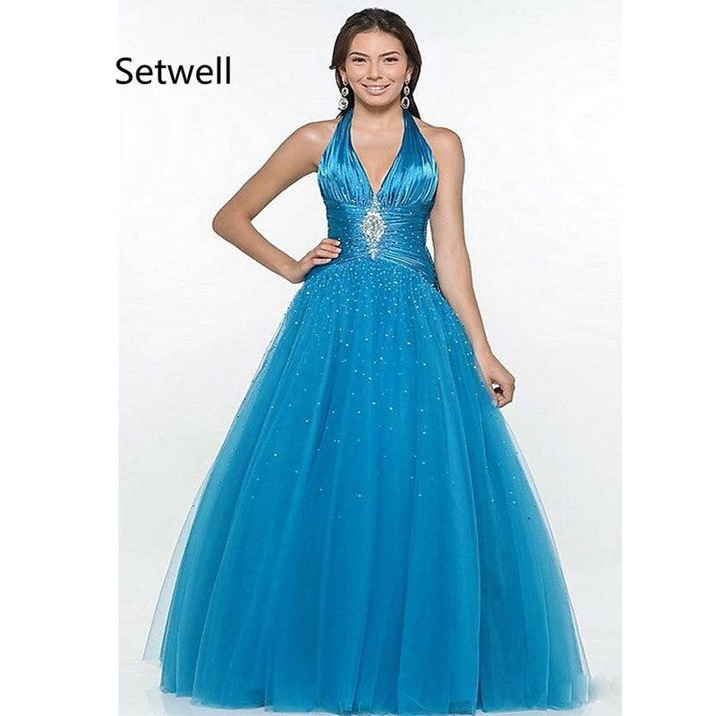 2019 Nuovo Stile Setwell 2017 Light Blue Quinceanera Abiti Halter Sexy Backless Quinceanera Abiti Di Alta Qualità Sequin Quinceanera Abito