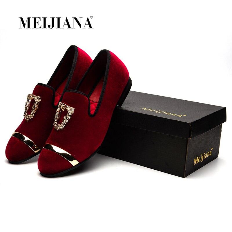 Meijiana rouge Velours Chaussures Designer De Hommes Partie Et bleu Mens Pantoufles Fumer Mariage Noir Mocassins Robe Mâle pourpre Noir FlJT1K3c