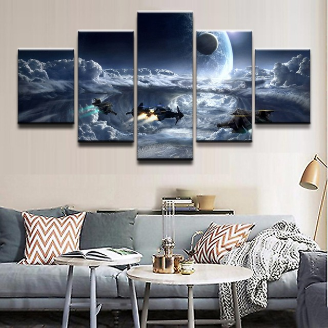Toile daffiches imprimées en HD 5 pièces | Décor de maison, Art mural de salon, étoile de jeu, citoyen, nuage, planète, vaisseau spatial, cadre dimages