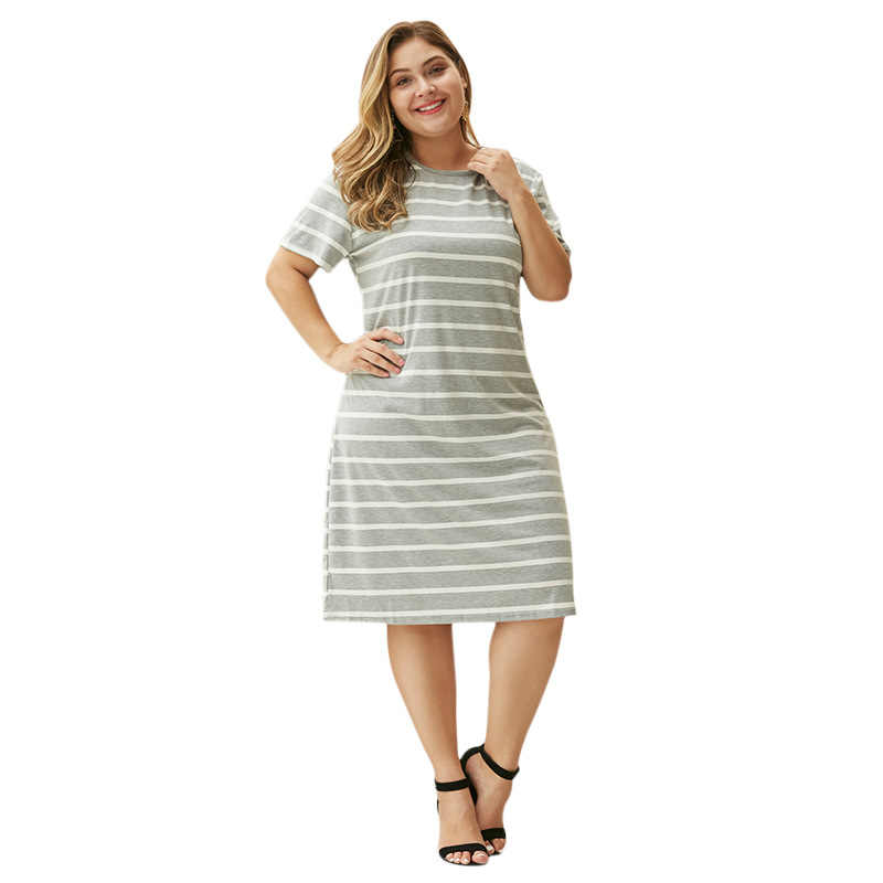 WHZHM Summer Plus Size 3XL 4XL Striped Dress Women Party Casual Short Sleeve Loose Big Size High Cotton Dress Ladies A-Line
