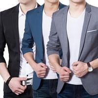 Men S Solid Color Step Collar Slim Blazer Formal Business Wear One Button Suit