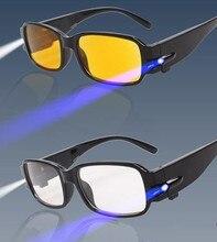 2 цветов объектив Ночного Видения в возрасте Очки СВЕТОДИОДНОЕ освещение функция Проверки анти усталость Специальный чтение дальнозоркостью Очки 7 моделей