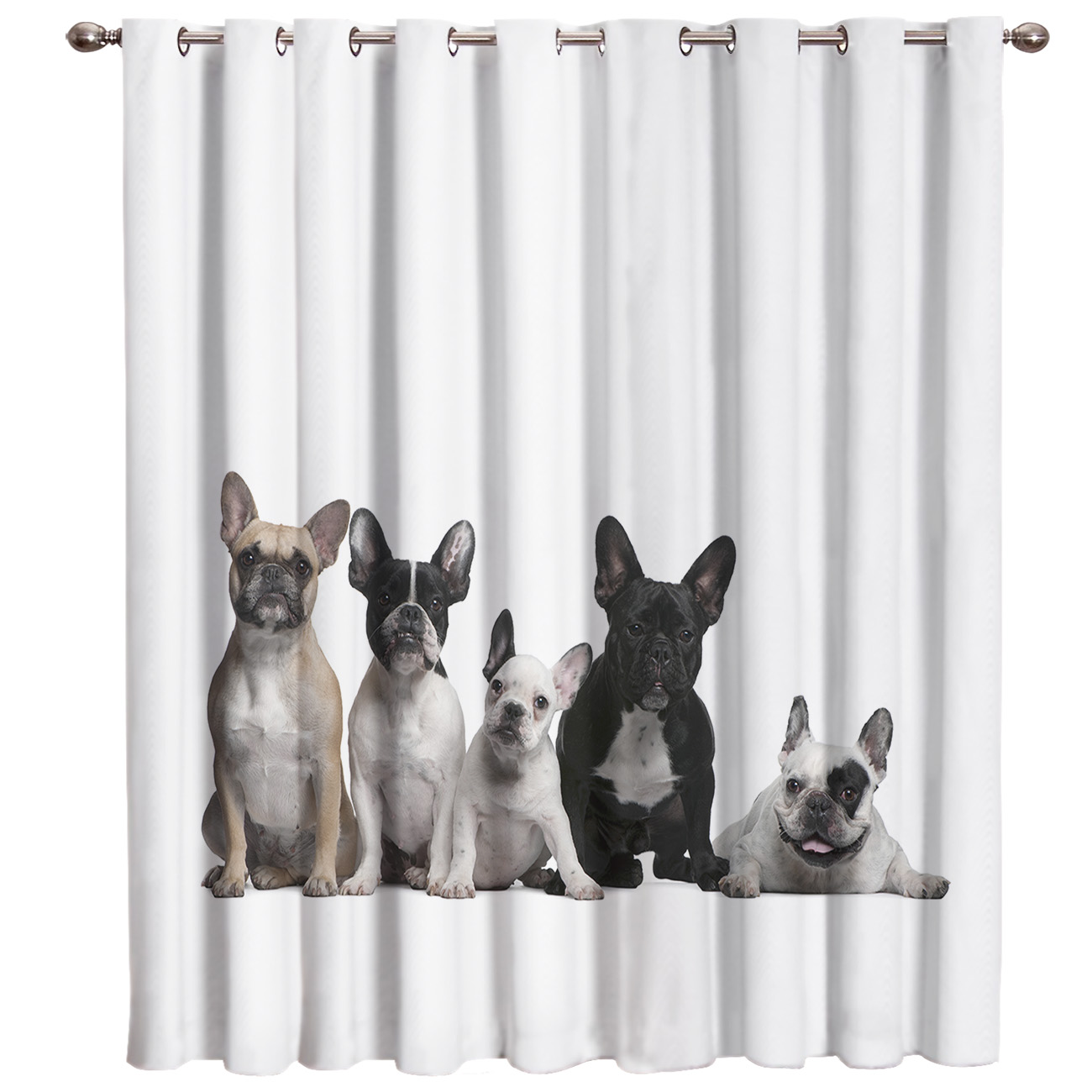 French Bulldog Window Curtains Dark Curtain Rod Bathroom Bedroom Drapes Indoor Decor Kids Curtain Panels With Grommets Window