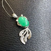 2017 Qi Xuan_Fashion Jewelry_Colombian Green Stone Goldfish Necklaces_925 Solid Silver Pendant Necklaces_Factory Directly Sales