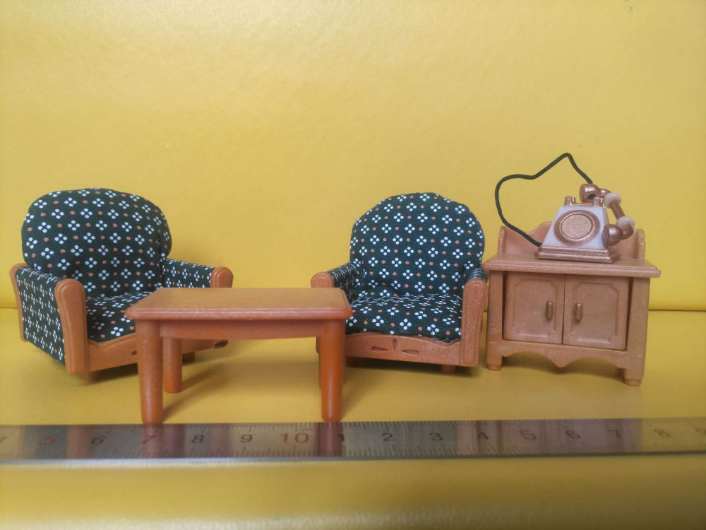 Sylvanian Family mini Couch arm chair mini size furniture telephone table cabinet pretend toy children gift