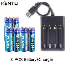 Bateria de lítio recarregável aa efeito de memória, bateria de lítio + 4 espaços, carregador usb kentli 1.5v 3000mwh
