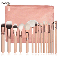 Professional 15pcs Makeup Brushes Set Pink Rose Golden Powder Foundation Eyes Shadow Eyebrow Brush Cosmetic Make