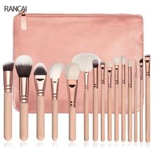 Professional 15pcs Makeup Brushes Set Pink Rose Golden Powder Foundation Eyes shadow Eyebrow Brush Cosmetics Make