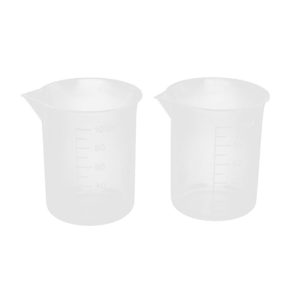 # 2017 100mL Gra Auate A Aeaker Clear Plastic Measuring Cup for La A 2 Pcs Measuring tool Hol Aer #1031