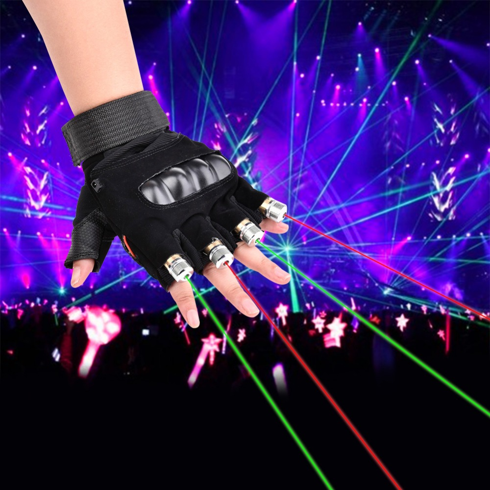 1Pcs Red Green Laser Gloves Dancing Stage Show Stage Gloves Light With 4 pcs Lasers and LED Palm Light For DJ Club/Party/Bars novelty led laser gloves green red led bulb with battery dance show finger gloves laser for disco music party stage lighting