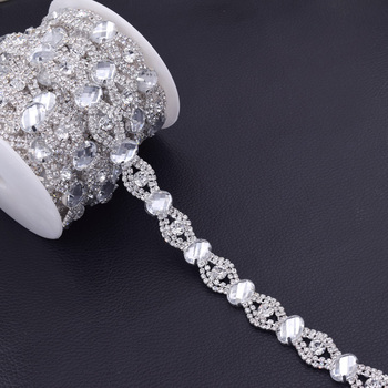 5Yard oval Glass Crystal Rhinestone Trimming  Clear stone Bridal Dress Shoes Hand made Sewing Chain Garment Applique