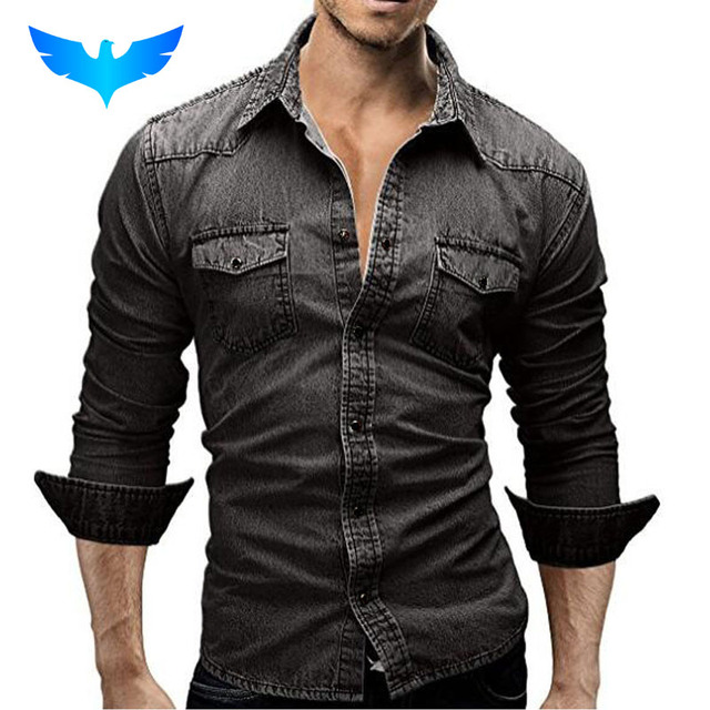 QINGYU Men Shirt Brand 2018 Male Long Sleeve Shirts Casual Solid Color Denim Slim Fit Dress Shirts Mens 3XL 3003