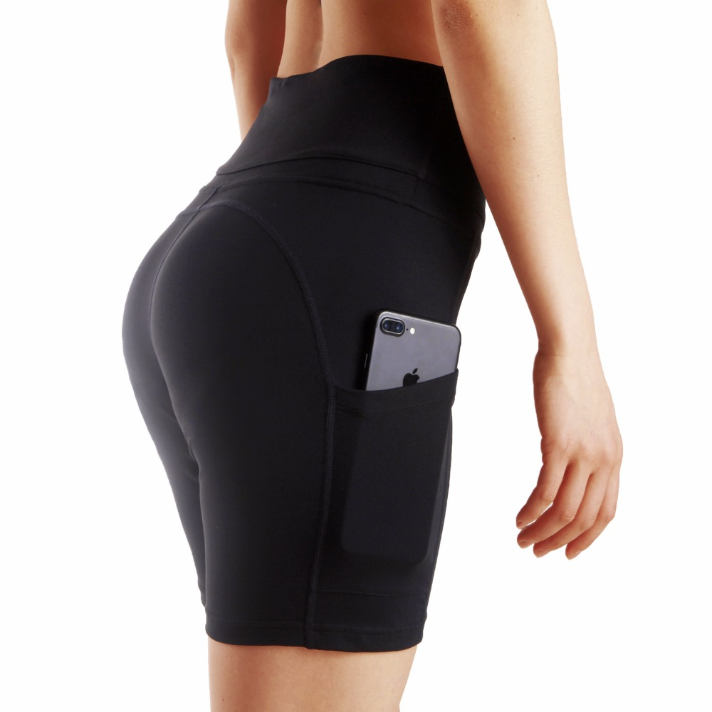 Womens Yoga Shorts With Side Pocket Tummy Control Workout Running Sports 4-Way Stretch Black Tight Shorts For Women