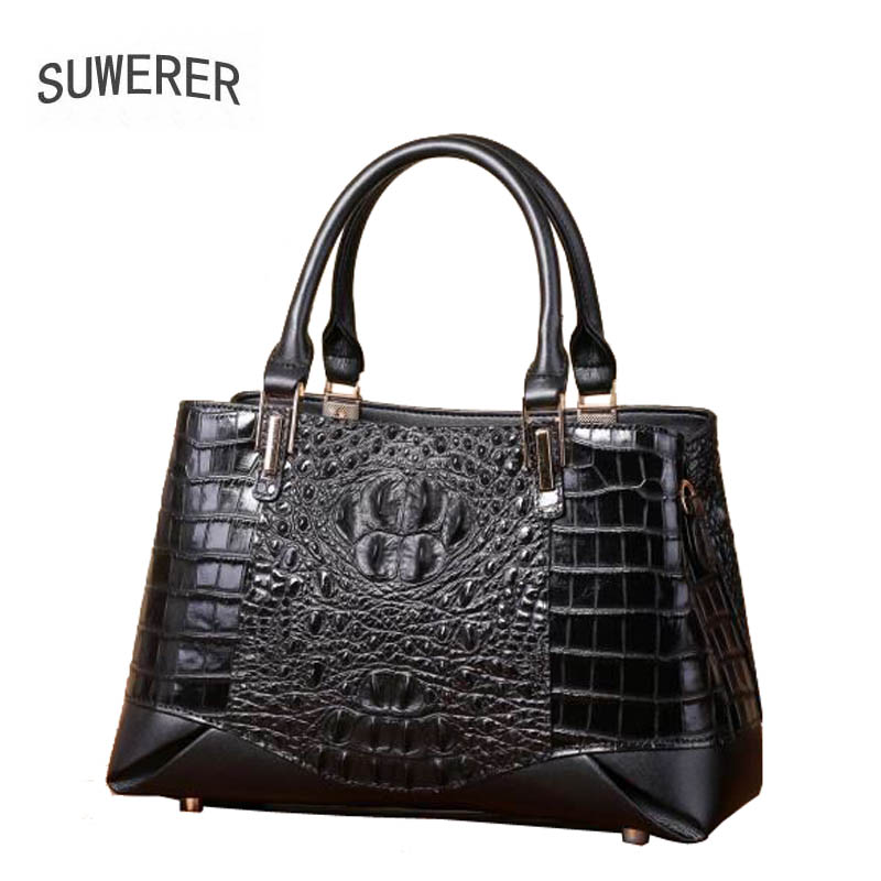 SUWERER 2019 New women genuine leather bag Embossed crocodile pattern Fashion schoudertas dames luxury women leather handbags