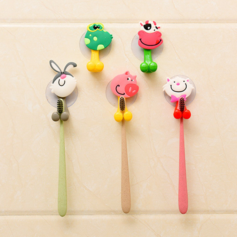 High Quality cute Cartoon sucker toothbrush holder suction hooks bathroom set accessories Eco-Friendly