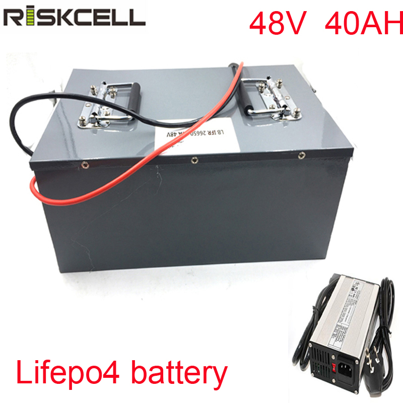 No taxes Customized Lifepo4 48V 40Ah Battery BMS 1000W Scooter 18650 Battery Pack with 5A Charger BMS Pack risunmotor 24v 40ah lifepo4 battery with bms 5a fast charger electric bicycle battery for electric scooter